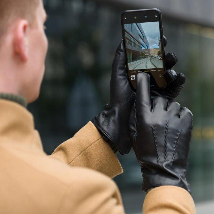 dotykowe rękawiczki skórzane