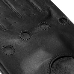 czarne sk贸rzane r臋kawiczki samochodowe