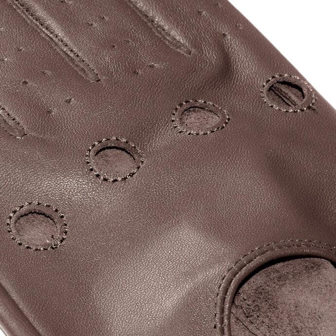 brązowe skórzane rękawiczki samochodowe