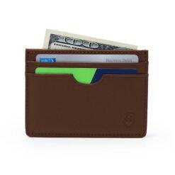 jasnobrązowy card holder ze skóry naturalnej