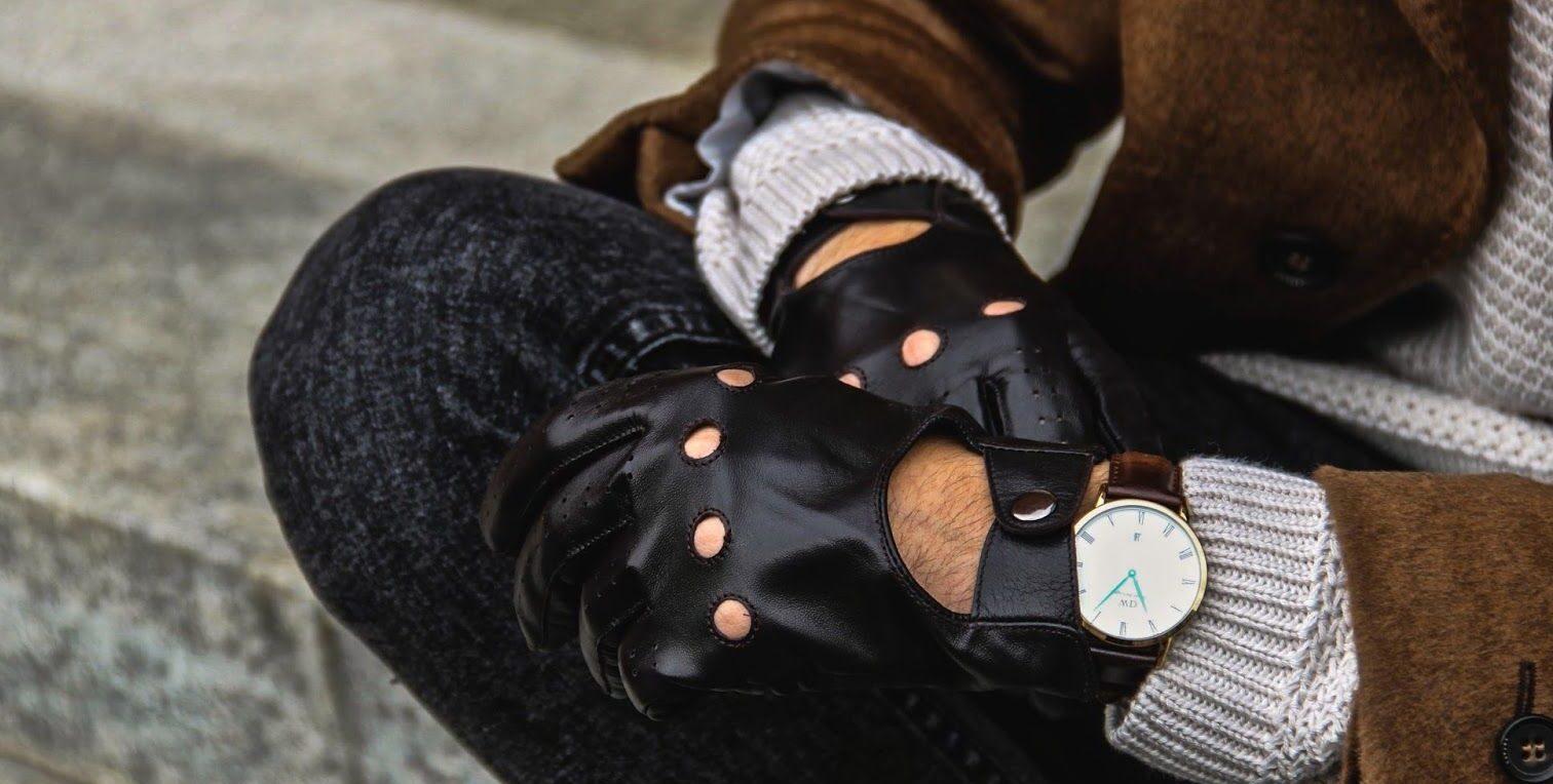 czarne męskie rękawiczki samochodowe